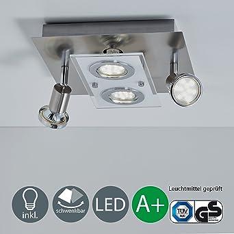BKLicht LED Deckenleuchte Schwenkbar Inkl 4 X 3W Leuchtmittel 230V GU10 IP20 Strahler