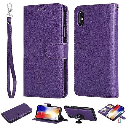 wholesale dealer f052d c676e Amazon.com: Yobby iPhone XS Wallet Case,iPhone X Purple Purse Case 2 ...