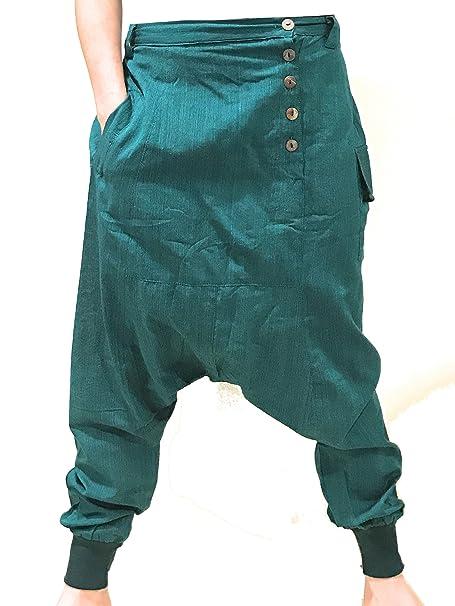 La Conchiglia Pantalone Cavallo Basso Turca Modello Indiana Cotone Uomo  Donna (Verde scuro)  Amazon.it  Abbigliamento 1bf7a4b06a5