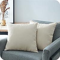 Topfinel Juego 2 Fundas Cojines Cama Sofas de Chenilla Algodón Lino Duradero Almohadas Decorativa de Color sólido para…