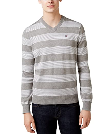 dae4c1a9 Tommy Hilfiger Men's Carrington V-Neck Striped Pullover Sweater (XXX-Large,  Heather