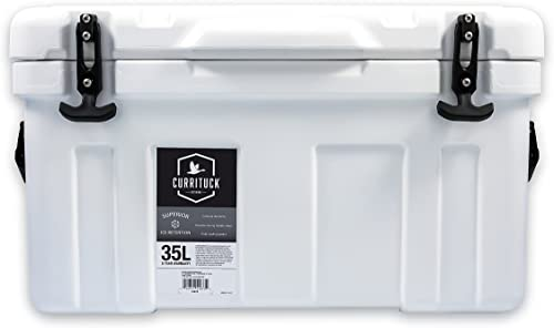 Currituck Heavy Duty Cooler by Camco- Perfect as a Boat Cooler and For Hunting, Hiking, Camping, Fishing, The Beach and More 37 Quarts White 51873