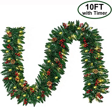 Christmas Garland With 50 Led Lights 10ft Pre Lit Outdoor Xmas Garland Battery Powered Waterproof String Light With Timer Pine Garland With Red
