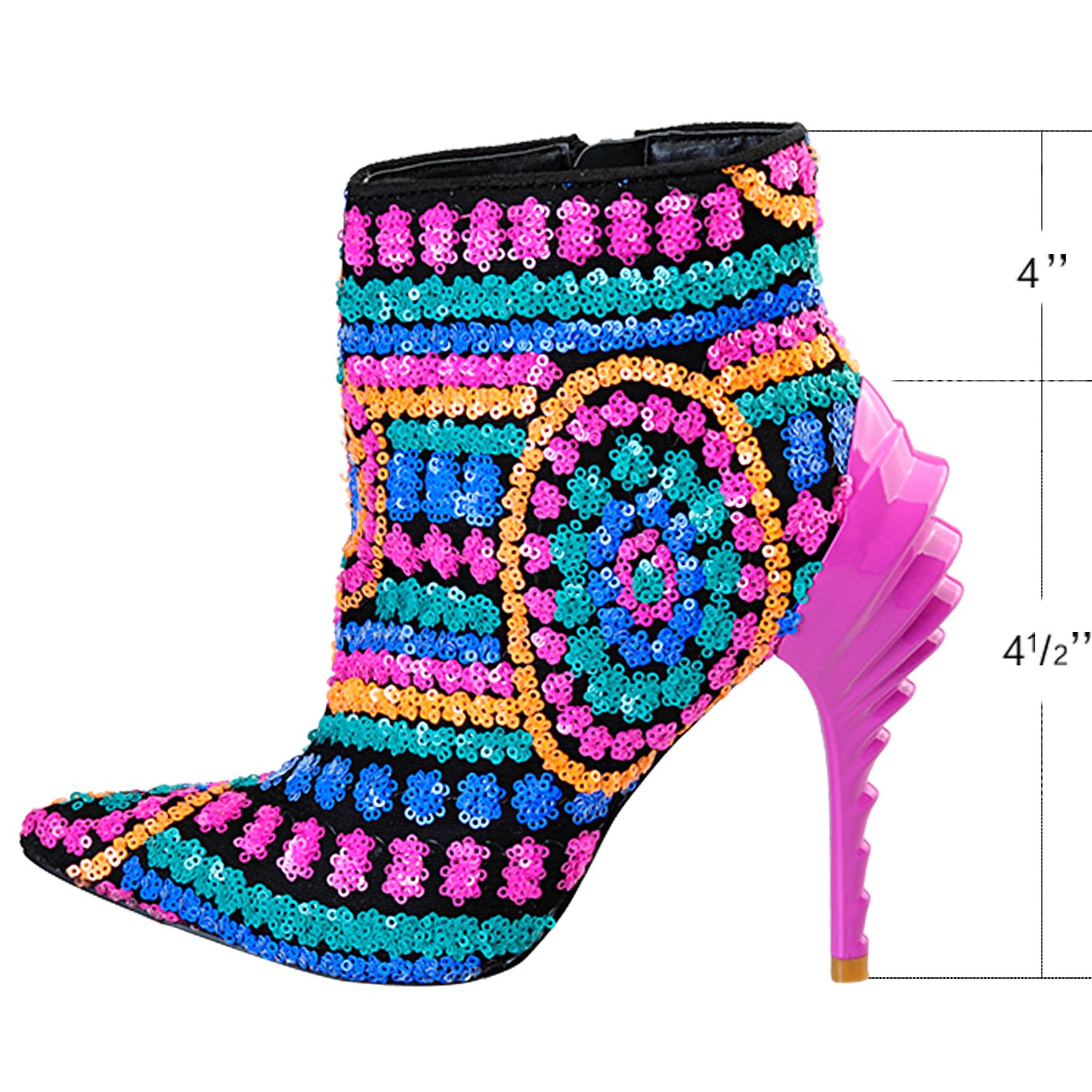 ecd88beb39b Pink Palms Women New Ankle Sequined Boots, Multi Cloth Bling Paillette High  Heels Rubber Boots for Ladies