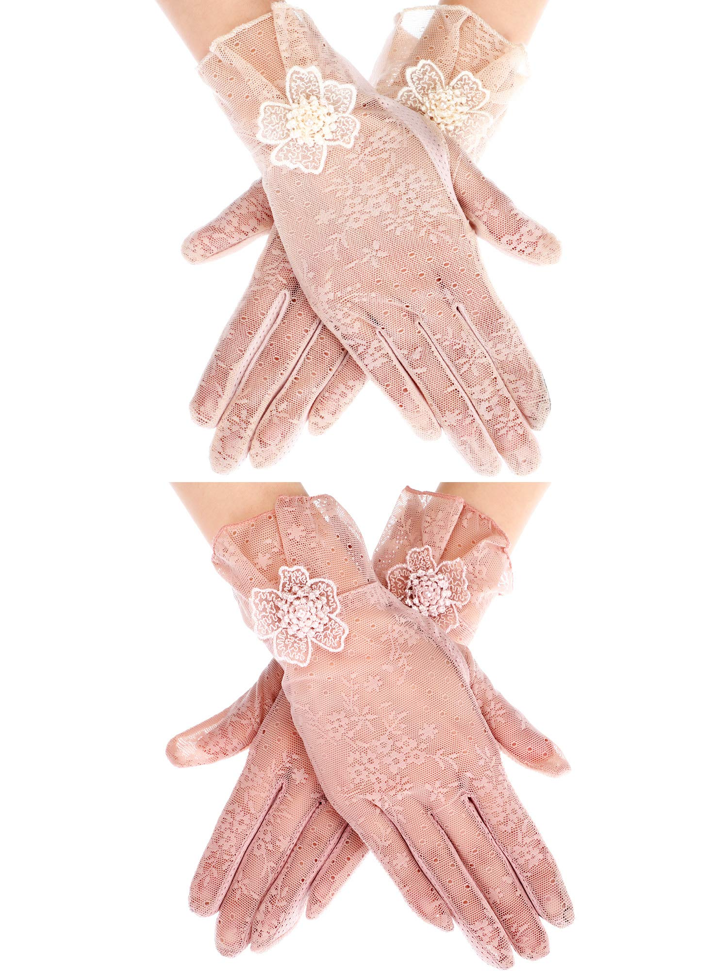 Norme 2 Pairs Women's Lace Flower Gloves Summer Thin Driving Gloves Sunblock Gloves Wedding Dress Gloves, Beige and Pink