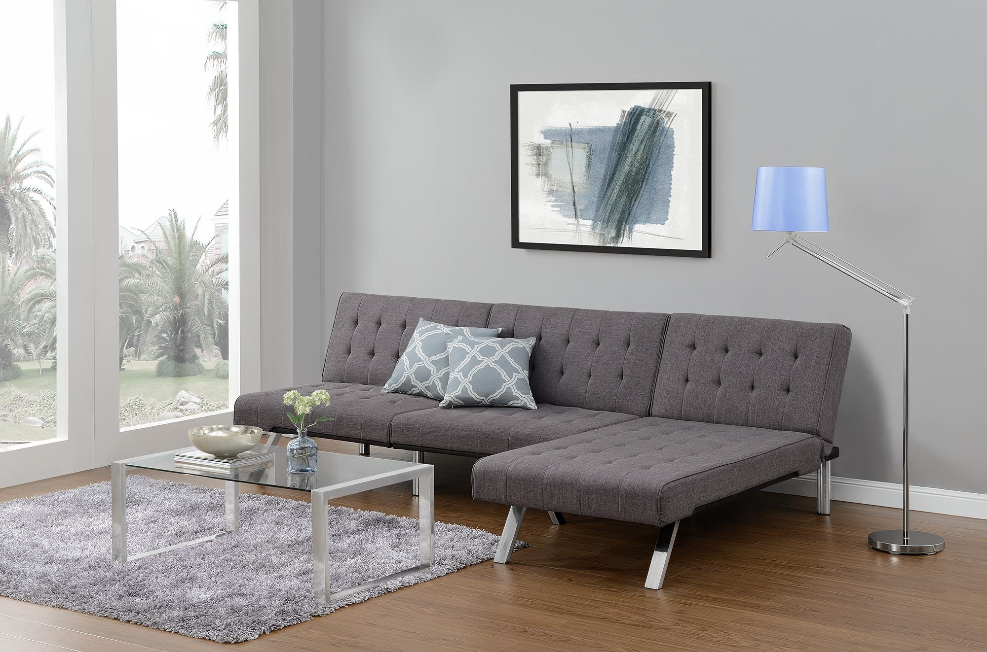 DHP Emily Linen Chaise Lounger, Stylish Design with Chrome Legs, Grey by DHP (Image #7)