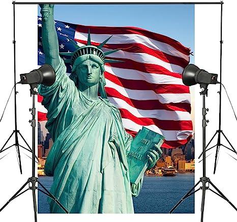 Estatua de la libertad fondo griega disfraces fotografía telón de ...