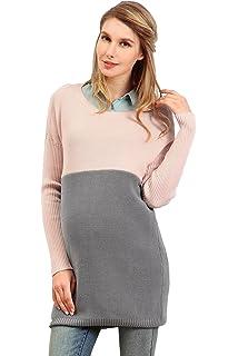 caa7e80e4531e Sweet Mommy Organic Cotton Knit Maternity and Nursing Bi-Color Tunic