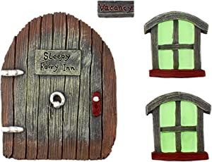 Cornucopia Fairy Garden Door and Windows Set (4-Piece Set); for Trees, Yard Art, Ornaments, and Sculptures