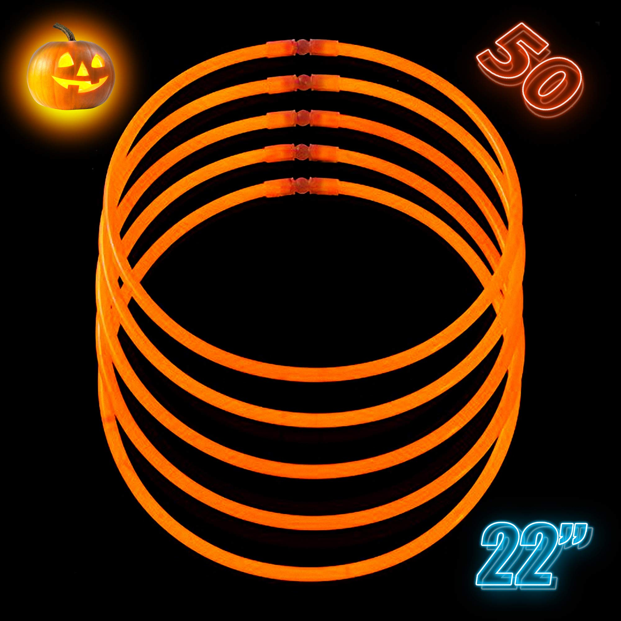 Orange Glow Sticks Bulk Party Supplies - Glow Necklaces 22 inch Bulk 50 - Extra Bright Glow in The Dark Necklaces - Strong and Durable - 9 Vibrant Neon Colors - Stuffers for Kids by CoBeeGlow
