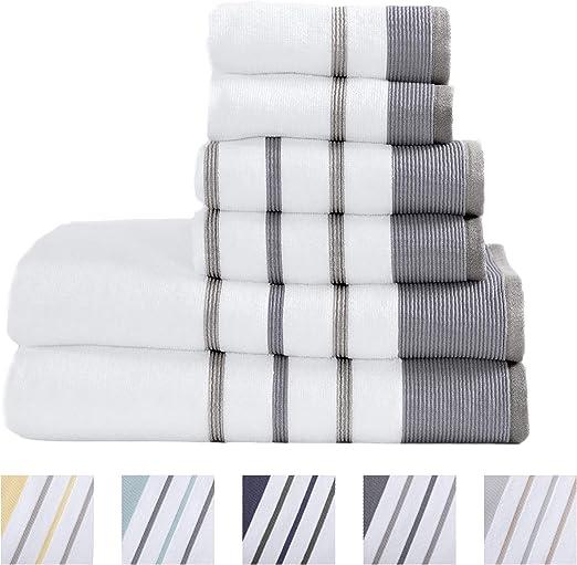Amazon.com: 100% Turkish Cotton Striped Bath Towels, Luxury 6