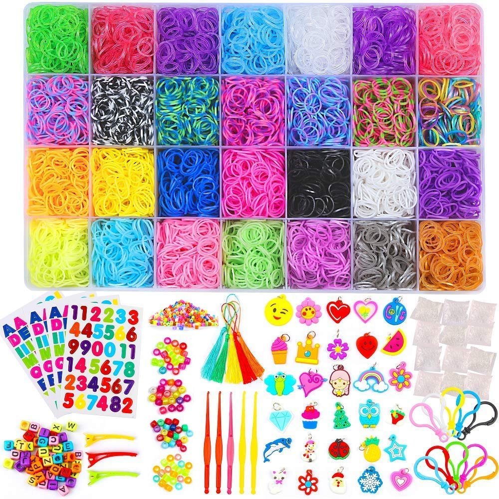 11000+ Loom Rubber Bands DIY Crafting Bracelet Weaving Refill Kit with Premium Loom Bands S-Clips Charms Beads Backpack Hooks Tassels Crochet Hooks Hair Clips
