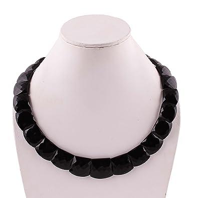 727d2d2f2abb Neerupam Collection natural ónix negro facetas collar de piedras preciosas  de diseño para niñas y mujeres  Amazon.es  Joyería