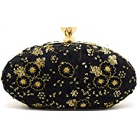 Tooba Handicraft Party Wear Beautiful Oval Box Clutch Bag Purse For Bridal, Casual, Party, Wedding