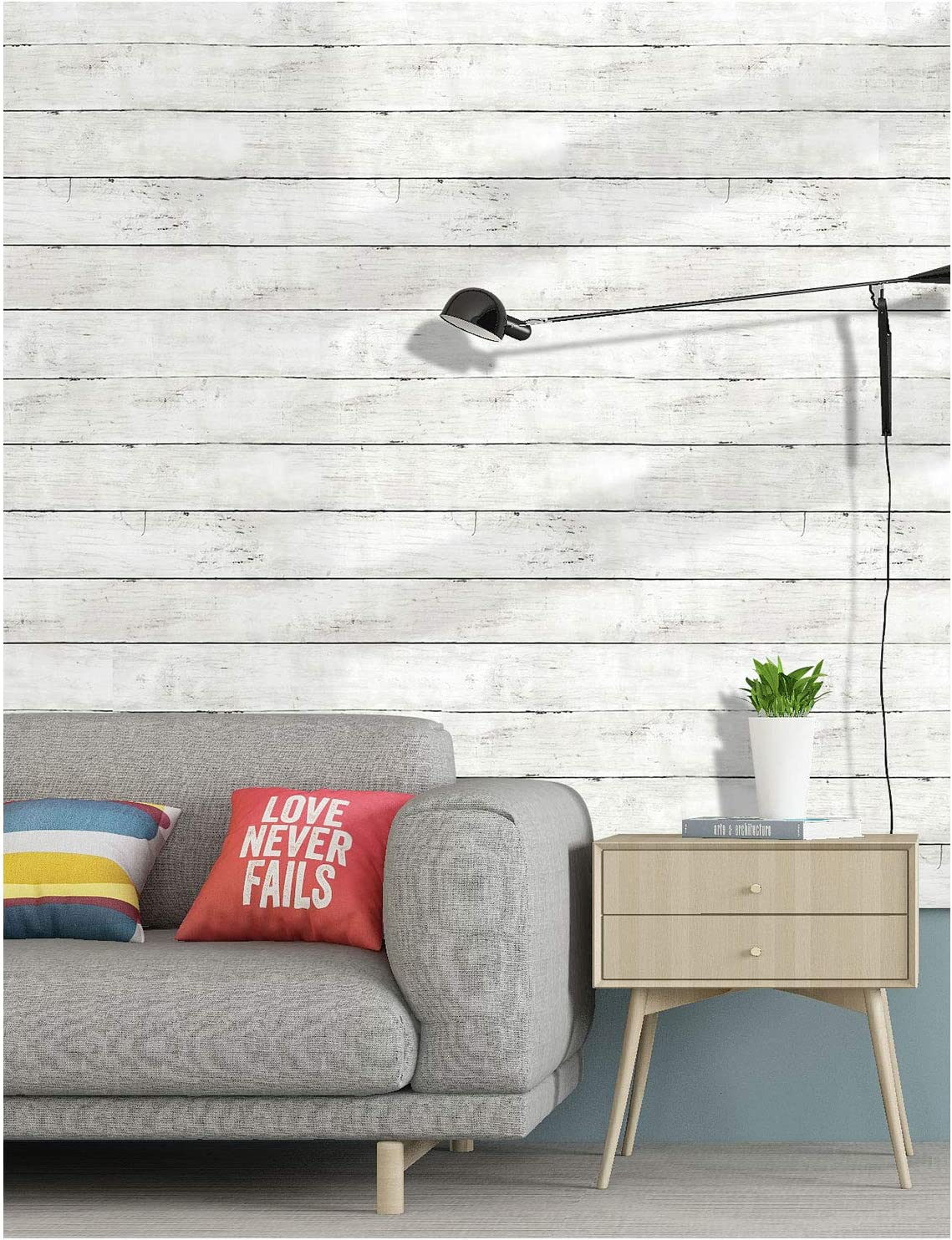 """HaokHome 5030 Shiplap Peel and Stick Wood Wallpaper Off White Distressed Wood Plank Wallpaper Self-Adhesive 17.7""""x 9.8ft"""