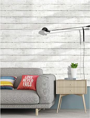 Haokhome 5030 Shiplap Peel And Stick Wood Wallpaper Off White Distressed Wood Plank Wallpaper Self Adhesive 17 7 X 9 8ft Amazon Com