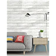 "HaokHome 5030 Shiplap Peel and Stick Wood Wallpaper Off White 17.7""x 19.7ft Distressed Wood Plank Wallpaper"