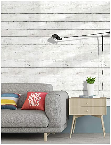 HaokHome 5030 Shiplap Peel and Stick Wood Wallpaper Off White 17 7