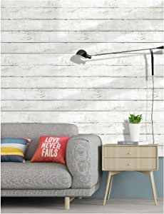 HaokHome 5030 Faux Distressed Wood Plank Peel and Stick Wallpaper Off White/Black Self-Adhesive Contact Paper