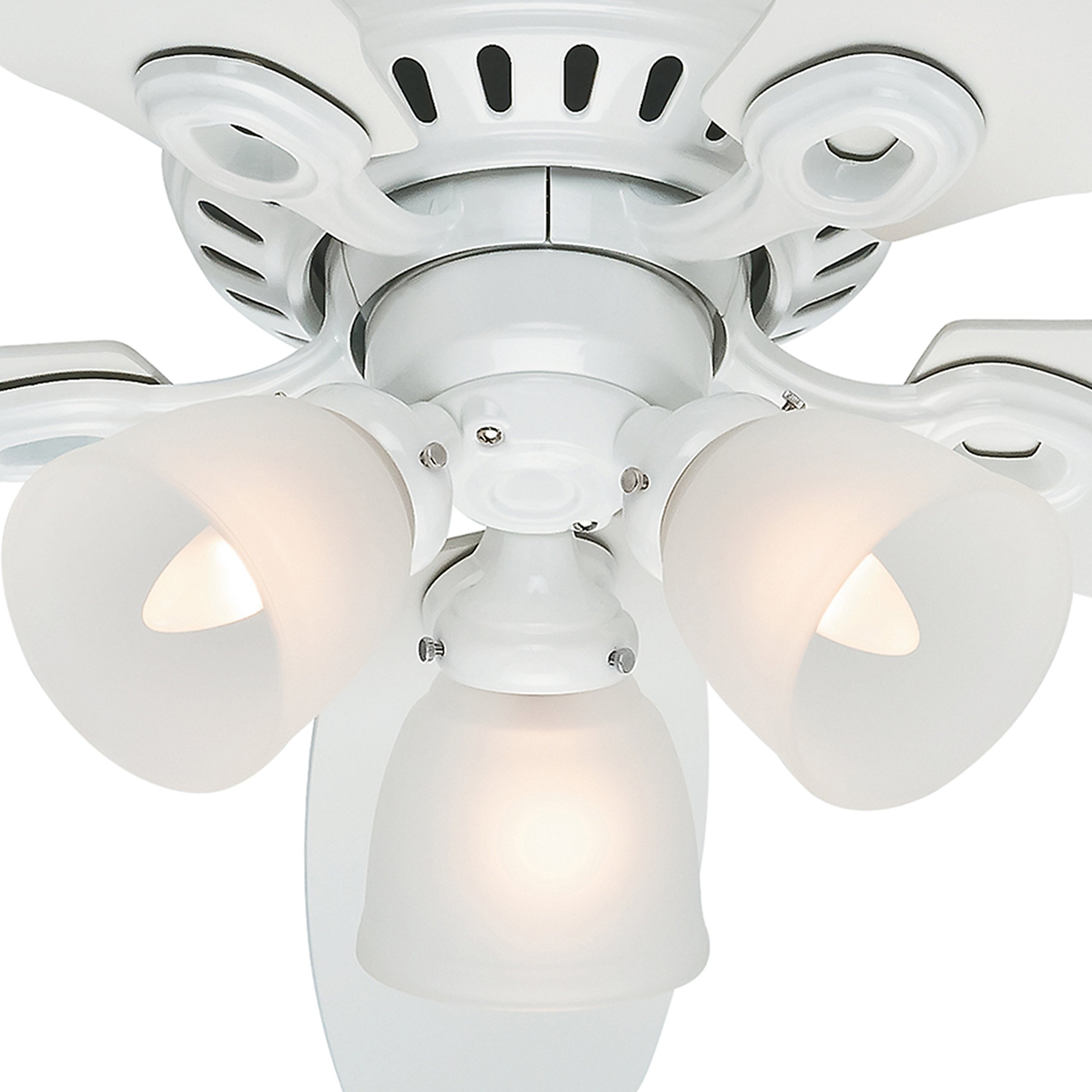 Hunter Fan 46'' Snow White Finish Ceiling Fan with Clear Frosted Glass Light Kit (Certified Refurbished) by Hunter Fan Company (Image #3)