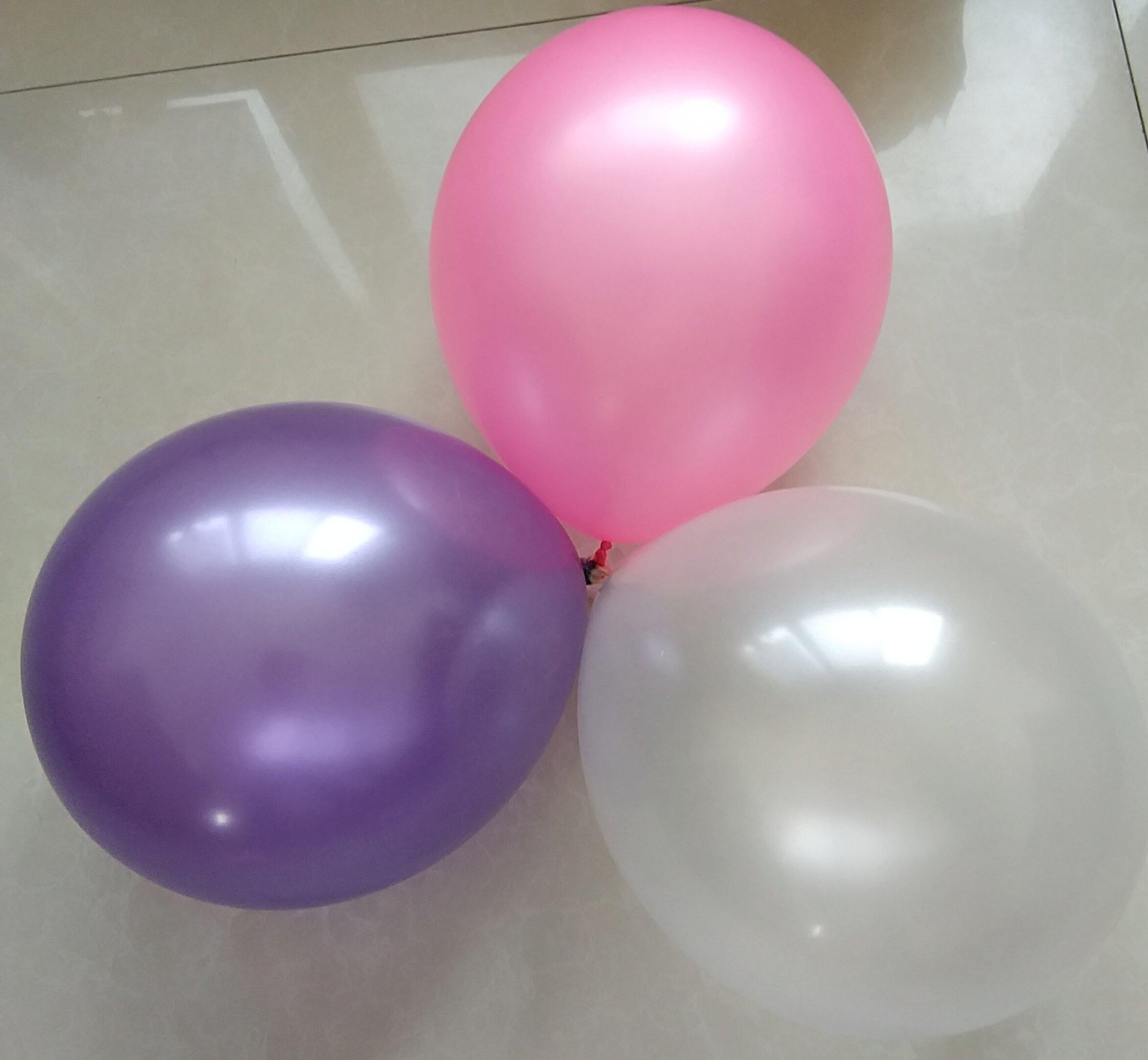 100 pcs Latex Balloons 12 Inch 2.8g Birthday Wedding Supply Kids Toy (pink&purple&white)