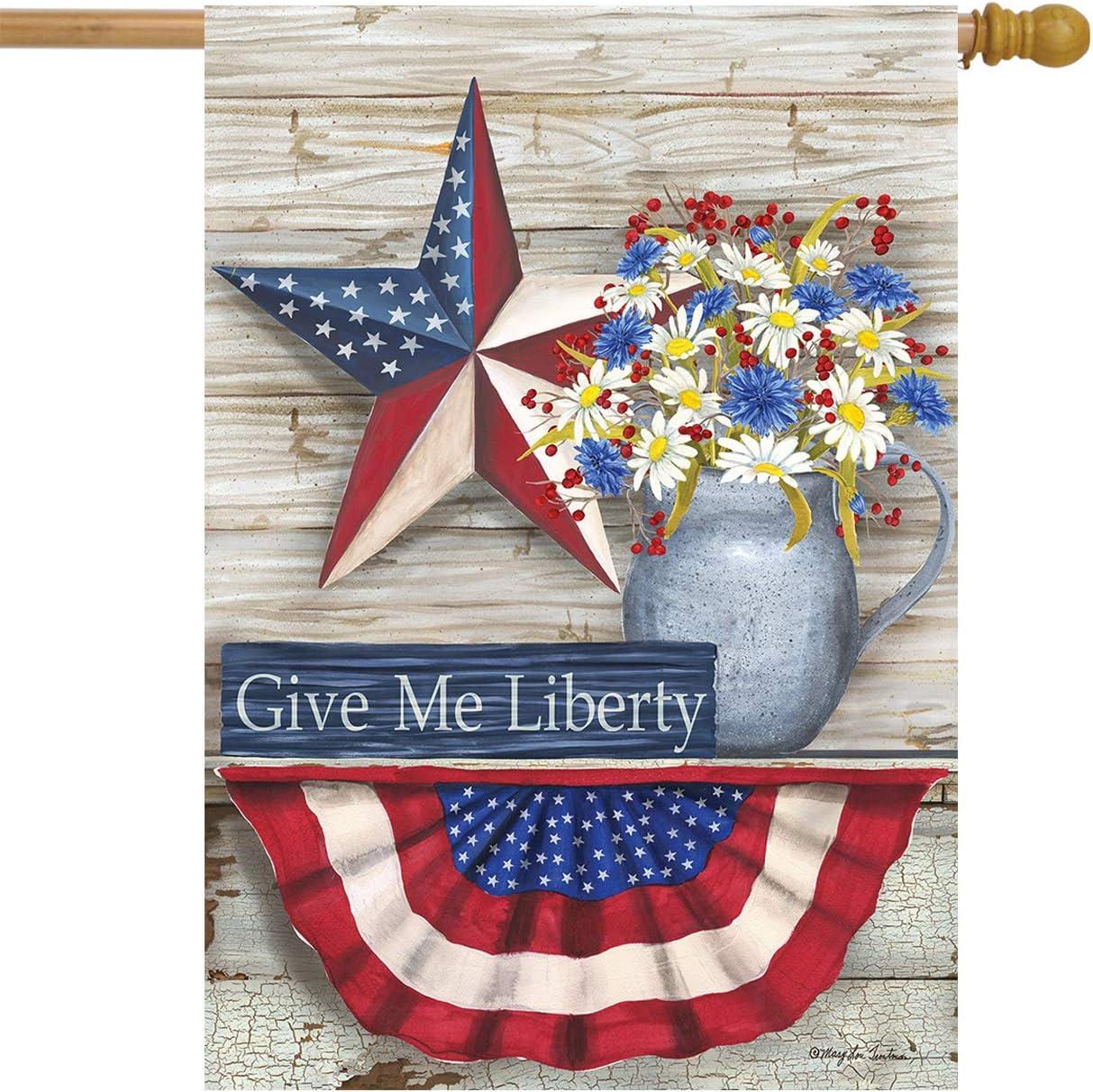 Briarwood Lane Give Me Liberty Patriotic House Flag Primitive Star Floral Rustic 28