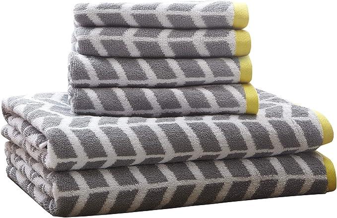Intelligent Design Nadia Quick Dry Premium Absorbent Chevron Cotton Towels Bath Bathroom Set Ultra Soft Bathroom Towels Set Gray 6 Piece Set Incl 2 Shower Towel 4 Hand Towel Home Kitchen Amazon Com