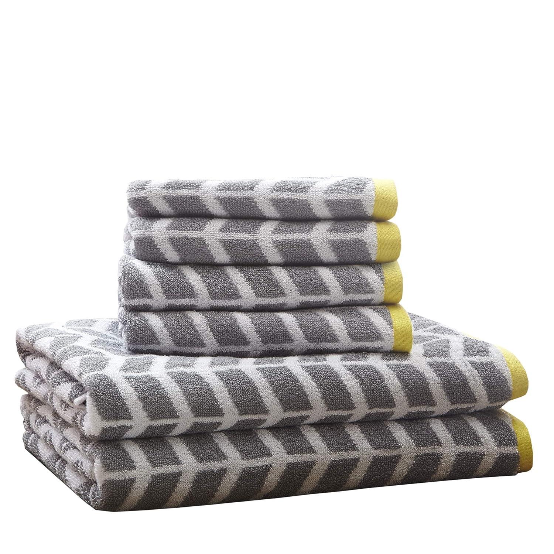 2 Shower Towel 4 Hand Towel 6 Piece Set incl Ultra Soft Bathroom Towels Set Premium Absorbent Chevron Cotton Towels Bath//Bathroom Set Intelligent Design Nadia Quick Dry Blush