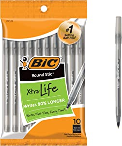 BIC Round Stic Xtra Life Ballpoint Pen, Medium Point (1.0mm), Black, 10-Count