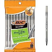 BIC Round Stic Xtra Life Ballpoint Pen, Medium Point (1.0mm), Black, 10-Count