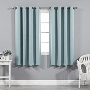 "Best Home Fashion Thermal Insulated Blackout Curtains - Antique Bronze Grommet Top - Turquoise- 52"" W x 54"" L - (Set of 2 Panels)"