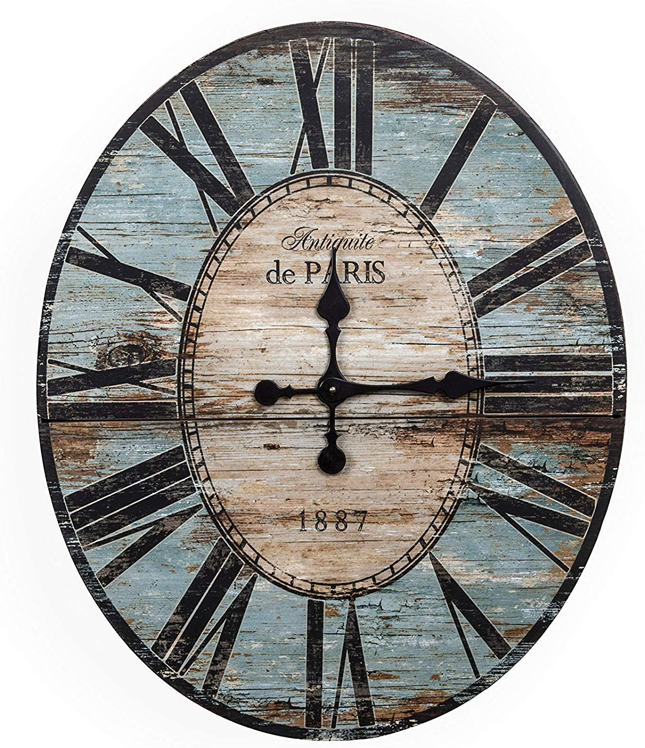 "Creative Co-op Distressed Wood Wall Clock, 29"" Oval, Turquoise"