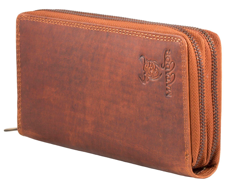 Brieftasche Damen RFID Schutz XXL Echt Leder Groß Geldbörse Portemonnaie Portmonee Scheintasche Geldtasche mit Reißverschluss Viele Kartenfächer Matador (Black) 3628