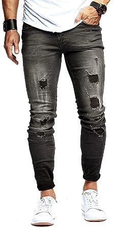 LEIF NELSON Herren Hose Jeans Stretch Schwarz Jeanshose Freizeithose Denim  Slim Fit LN9905  Amazon.de  Bekleidung 5747289b44