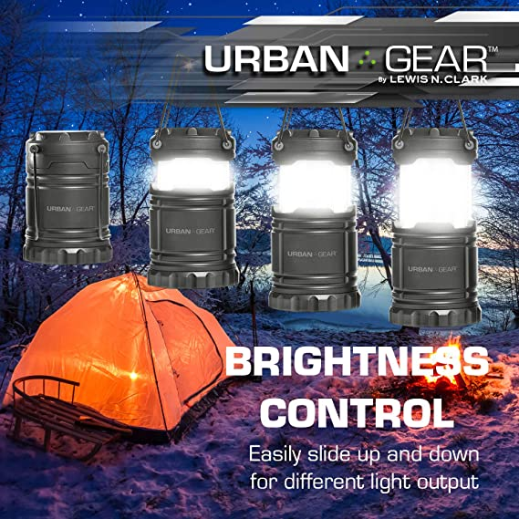 AAA Batteries Included Fishing /& Outdoors Clark Urban Gear LED Camp Light Magnetic Emergency Flashlight Tent lamp for Camping Lewis N Red//Black One Size Backpacking Hiking