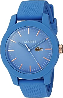 Lacoste Womens Ladies 12.12 Quartz Plastic and Silicone Casual Watch, Color Blue (