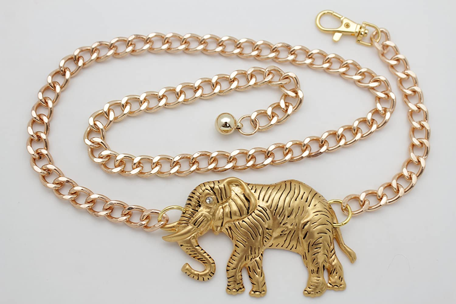 TFJ Women Gold Metal Chain Links Belt Hip High Waist Big Elephant Charm Buckle XS S M
