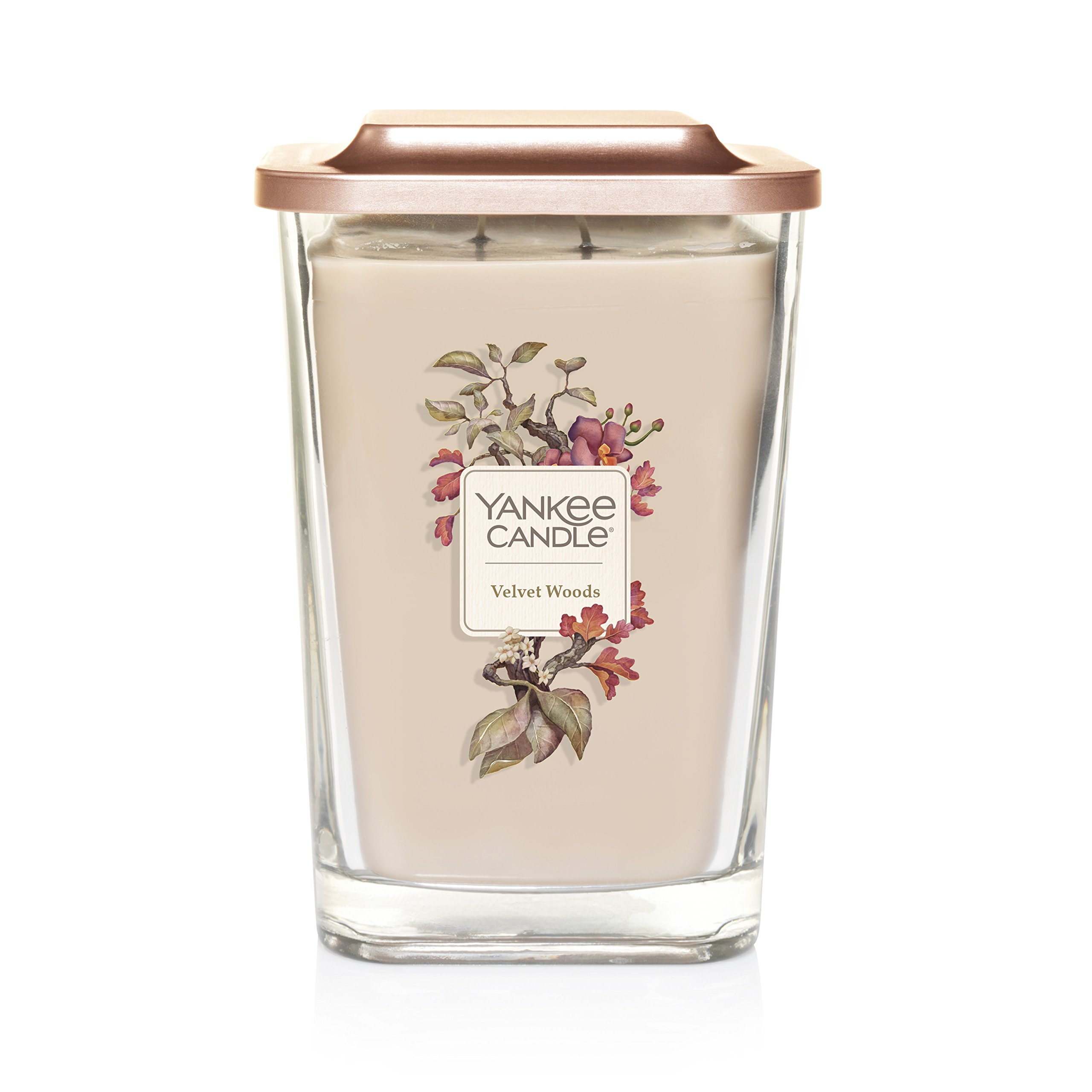 Yankee Candle Elevation Collection with Platform Lid, Large 2-Wick Square Candle, Velvet Woods