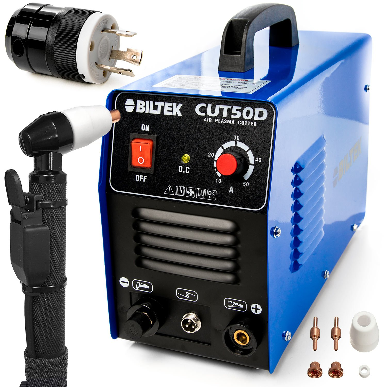 Biltek 50Amp Air Plasma Cutter, 1/2'' Inch Cut 110V/220V Input CUT50D DC Inverter Dual Voltage with Pre-Installed 110V US Plug + 220V L6-30P Plug, Portable & Easy Quick Setup Metal Cutter by Biltek