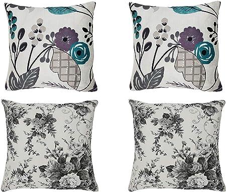 Cojines Fundas Almohada 45x45cm Sofa Cama decoración habitación Oficina Jardin, Pack de 4 Unidades (A, 45x45cm): Amazon.es: Hogar