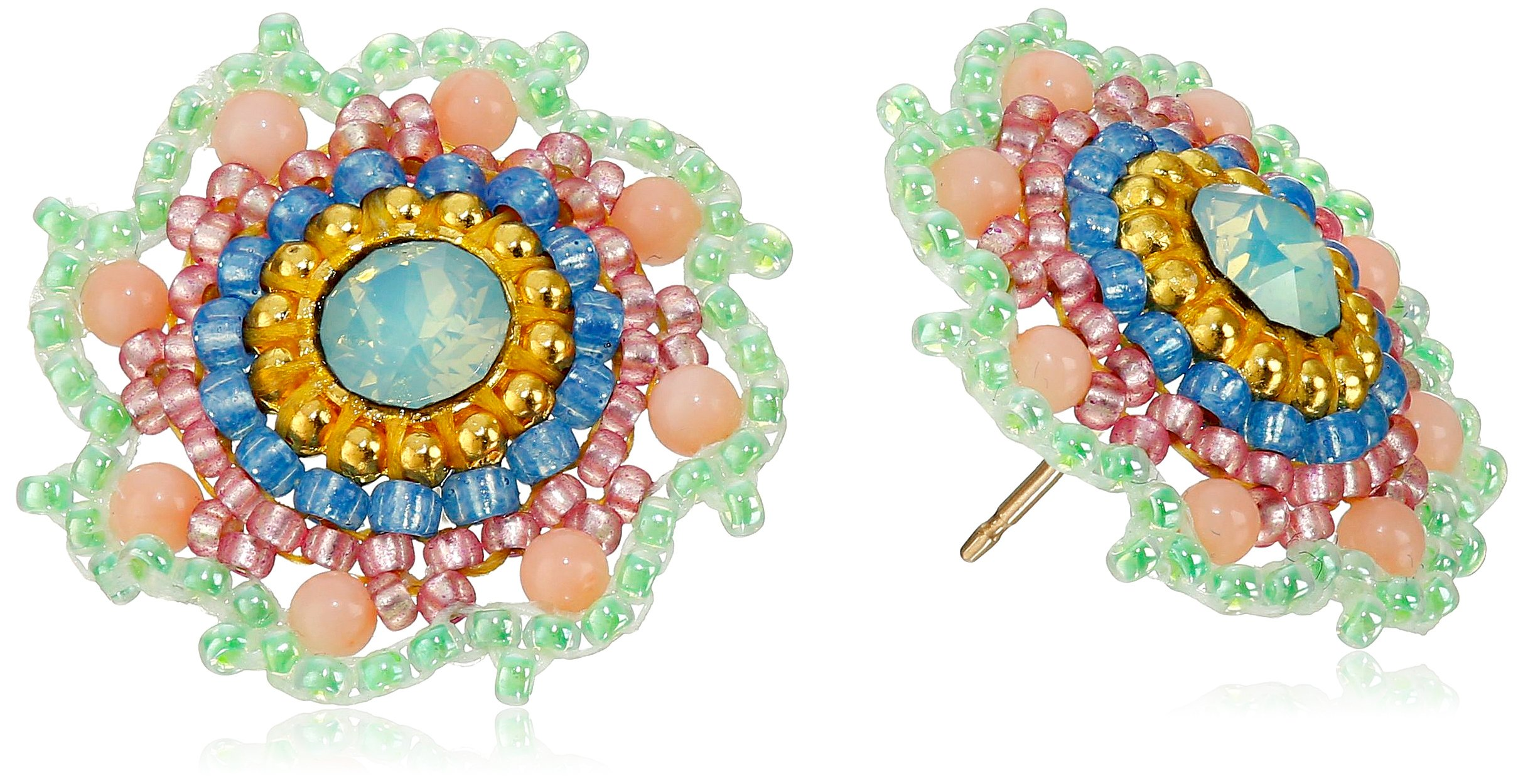 Miguel Ases Pink Coral and Swarovski Scalloped Stud Earrings