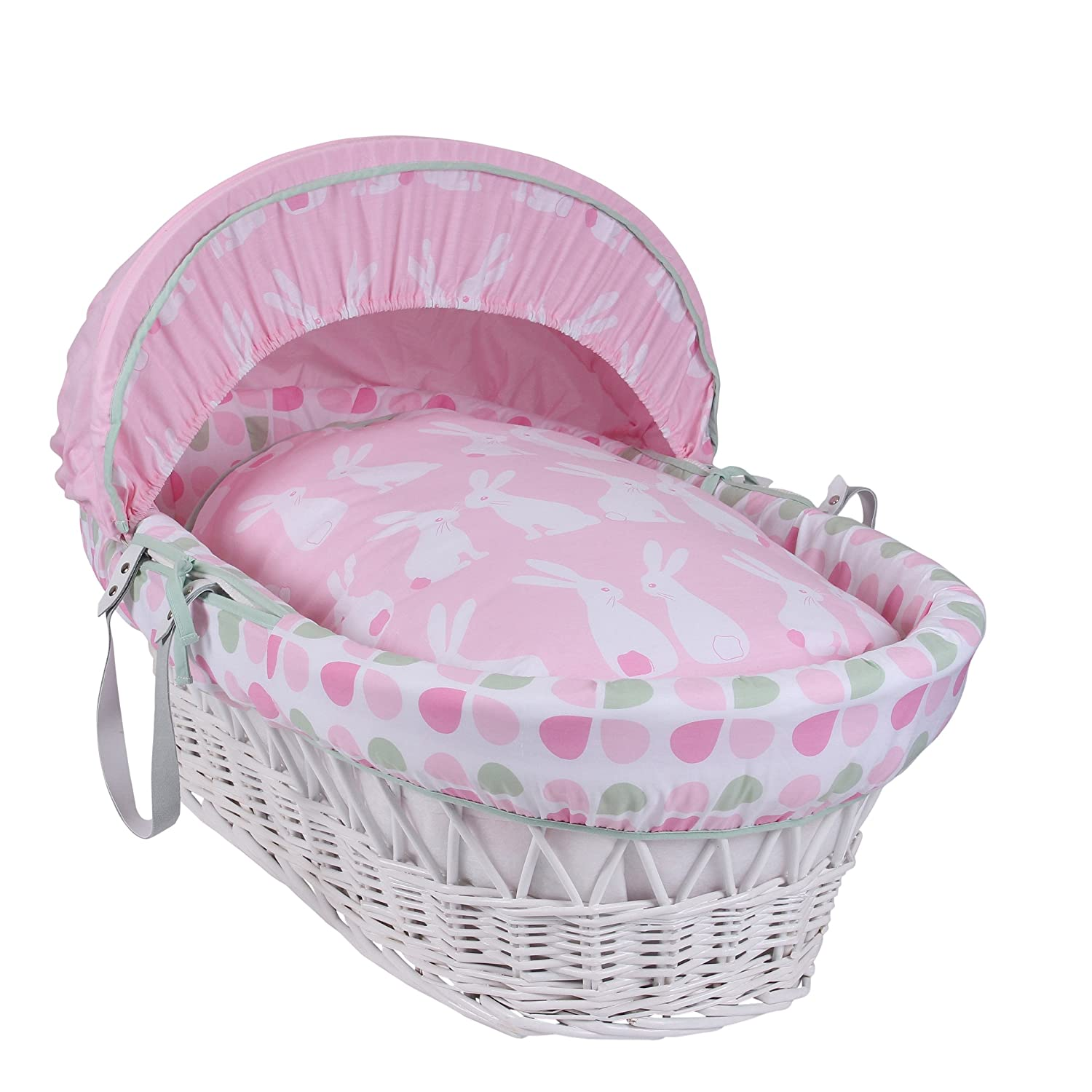 Clair de Lune Rabbits White Wicker Moses Basket inc. bedding, mattress & adjustable hood (Pink) CL5659W