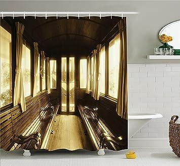 Amazon Com Antique Decor Shower Curtain Set Vintage Train Salon