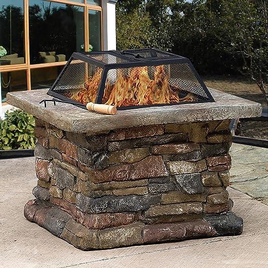 Brasero de piedra Costway de 73, 6 cm al aire libre para jardín y patio: Amazon.es: Jardín