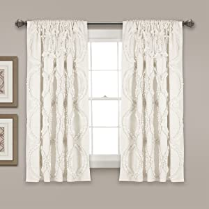 "Lush Decor Avon Window Curtain White Panel for Living, Dining Room, Bedroom (Single), 63"" x 54"","