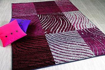 TrendLine   Tapis Moderne   Zèbre Carreaux Noir Violet   5 Tailles  Disponibles