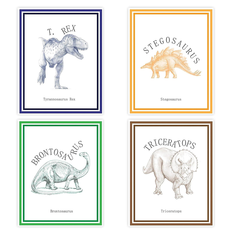 Dinosaur Decor, Playroom Decor, Dinosaur Classic Collection (Set of Four 11x14 Wall Art Prints), Nursery Decor, Kid's Room Art, Gender Neutral Nursery Decor, Baby Room, Nursery Rhyme Kid's Wall Art