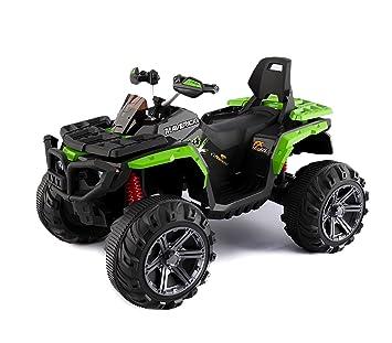 B83562 Quad PASSION ATV moto MONSTER eléctrico para niños MP3 4 amortiguadores - Verde: Amazon.es: Juguetes y juegos