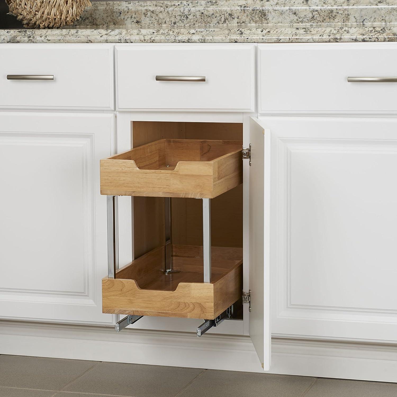 Wood 11.5 Wide Household Essentials 24221-1 Glidez 2-Tier Sliding Cabinet Organizer