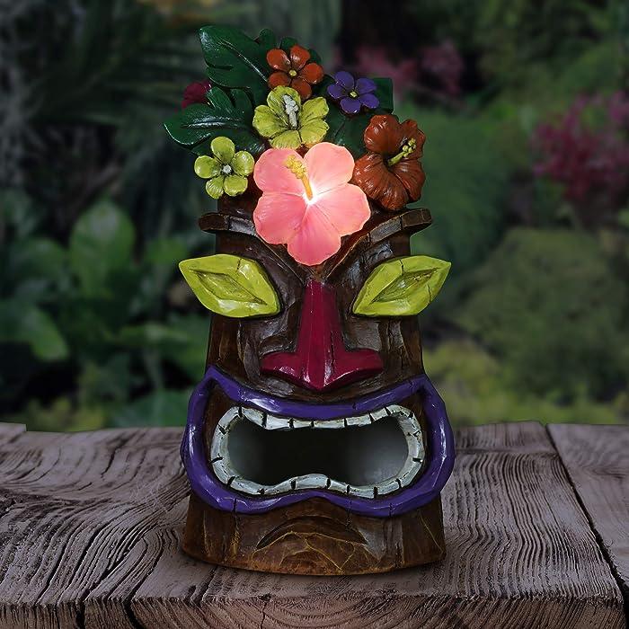 "Exhart Flower Tiki Bird House – Tiki Flowers w/Solar Powered LED Light - Decorative Garden Bird House - Weather-Resistant Resin Garden Tiki – Tiki Statue for Outdoor Garden, 5.5"" L x 5"" W x 9.5"" H"